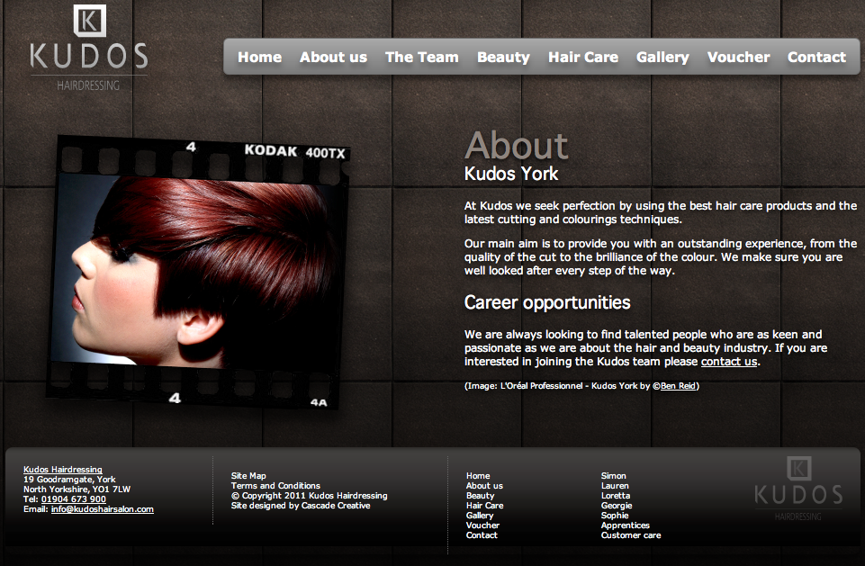 Web Design - Client: Kudos Hair Salon York | Advertising ...